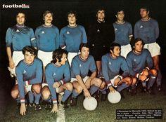 O. MARSEILLE 1971-72. Debout : Zvunka, Kula, Novi, Carnus, Hodoul, Bosquier. Accroupis : Magnusson, Gress, Bonnel, Skoblar, Couécou