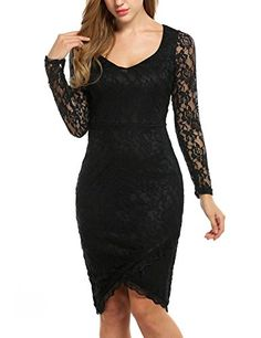 087a9e12ee4 ANGVNS Womens Midi Dress Slimming Full Lace Evening Party Cocktail Dress  Black XLarge   You can get additional details at the image link.