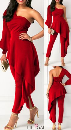 Ruffle Trim One Shoulder Red Valentine Day Jumpsuit Classy Dress, Classy Outfits, Cute Outfits, Day Jumpsuits, Jumpsuits For Women, Red Colour Dress, Dress Outfits, Fashion Dresses, Frack