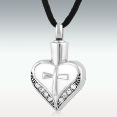 Cross My Heart Stainless Steel Cremation Jewelry-Engravable