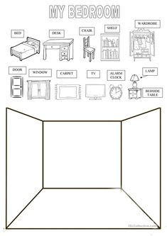 Draw Your Bedroom - English Esl Worksheets images ideas from Worksheets Ideas Kids English, English Lessons, Learn English, French Lessons, Spanish Lessons, Learn French, English Activities, Preschool Activities, Vocabulary Activities