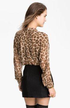 Free People Animal Print Chiffon Shirt at Nordstrom. (What do you know? I found silk chiffon animal print already in my sewing stash!)