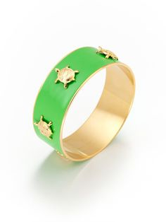 Green Enamel & Turtle Bangle by KEP
