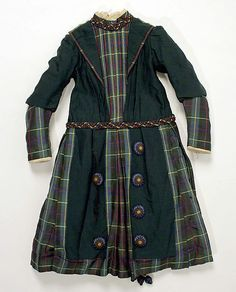 Young Lady's Wool and Silk Dress, 1880s | A very handsomely tailored outfit for a girl. The plaid and suit-like lapels are quite classy! #Victorian