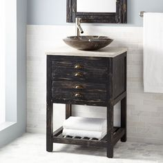 24 Benoist Reclaimed Wood Vessel Sink Vanity Antique Pine