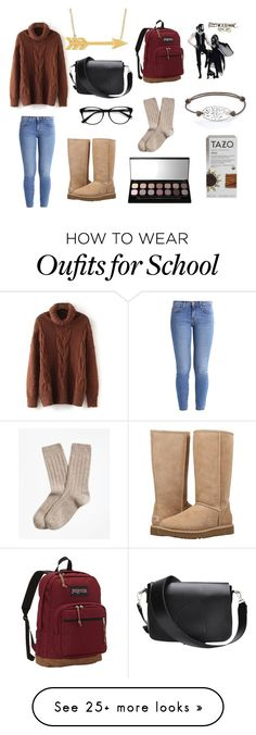 """""""nonexsistent"""" by fiueakts on Polyvore featuring Current/Elliott, UGG, EyeBuyDirect.com, Bare Escentuals, Brooks Brothers, JanSport and Footnotes Too"""