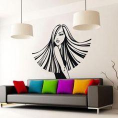 Vinilos Decorativos Paredes Silueta Mujer Estilo Salon Art, Beauty Salon Decor, Modern Wallpaper, Salon Design, Beauty Shop, Paint Designs, Wall Sticker, Wall Decor, Inspiration