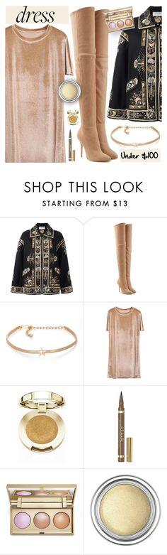 """Winter Dresses Under $100"" by dora04 ❤ liked on Polyvore featuring Valentino, Balmain, Kenneth Jay Lane, Milani, Stila, Christian Dior, velvet, under100 and winterdresses"