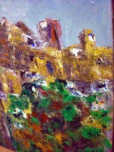 """Fragmento de un óleo """"Vista imposible de un pueblo"""". 130 x 110 cm"""