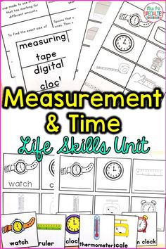 Develop crucial life skills with this time and measurement unit! This set is perfect for teaching students vocabulary and concepts associated with time and measurement. Thus unit is ideal for special education classrooms, life skills programs, autism activities, self-contained classes, hands on learners, middle and high school special education programs.