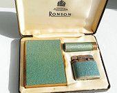 Ronson Cigarette set with Veraflame lighter, Cigarette case, lipstick holder in goldtone metal & turquoise enamel.