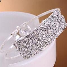 NWT Rhinestone, Crystal, Bangle Cuff Bracelet Brand new stunning rhinestone bracelet. Jewelry Bracelets