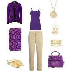 Regal violet Purple and Gold fashion Set, on Polyvore