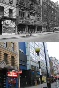 332-Charing Cross Road - Alhambra Theatre, 1930's & 2012 (2) by Warsaw1948, via Flickr