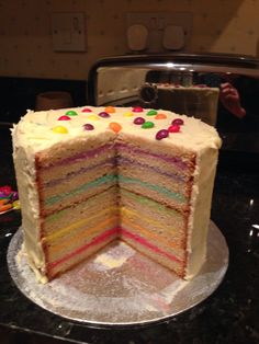 My cheat rainbow cake, slightly less labour intensive, still quite pretty!