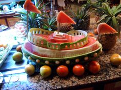 WATERMELON CRUISE SHIP -- get creatie with fruit art for Cruising For Murder! Vegan Party Food, Vegan Snacks, Mystery Parties, Fruit Art, 4th Birthday Parties, Raw Vegan, Watermelon, Nom Nom, Cruise