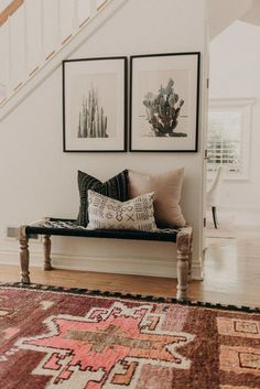 Tour a Space that Blends Bohemian Details with a Modern Farmhouse, Home Decor, Modern Southwestern Decor in an entryway featuring a large area rug and framed cactus prints - Southwest Decor & Decorating Ideas. Bohemian Style Home, Style At Home, Bohemian Beach, Bohemian Living, Boho Chic, Shabby Chic, Bohemian Office, Cali Style, Bohemian Fashion
