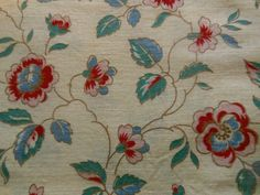 Antique French Indienne Floral Cotton Fabric ~Red Pink Blue Green on pale yellow
