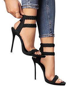 18627cb8500bac Dellytop Women s Ankle Strap Open Toe Weaving Stiletto Heel Dress Sandals