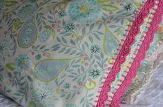 Pillowcase with Crocheted Edging - Aqua Blossom - Dena Designs - pinned by pin4etsy.com
