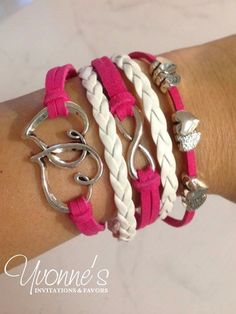 Hot Pink Multi Layer Leather Wrap Cord Bracelet- Infinity, Hearts Charms   Jewelry & Watches, Fashion Jewelry, Bracelets   eBay!