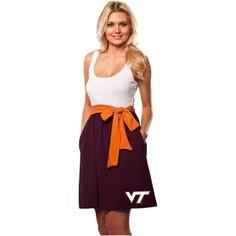 Virginia Tech Hokies Ladies Babydoll Sundress with Pockets - Maroon/White