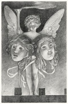 Edwin Howland Blashfield, frontispiece from Masques of cupid, by  Evangeline Wilbour Blashfield, New York, 1901.  (Source: archive.org.)