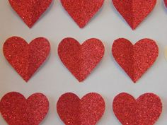 Image of Hearts - Small - Red glitter