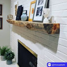 with ・・・ Here's a monster live edge Spalted Red Pine mantel that we did for them last year. Swipe to see it in all it's glory. Modern Craftsman, Live Edge Wood, Fire Places, Mantles, Floating Shelves, Countertops, Pine, Home Improvement, House Design
