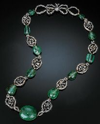 AN EARLY 19TH CENTUR EMERALD AND DIAMOND-SET NECKLACE  Comprising ten closed-back rose-cut diamond-set openwork floral clusters separated by eleven polished emerald beads to a rose-cut diamond-set bow clasp, mounted in silver and yellow gold, French import mark, numbered 3582.