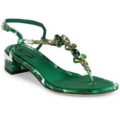 Dolce & Gabbana Banana Leaf Leather Block Heel T-Strap Sandals (133395 RSD) ❤ liked on Polyvore featuring shoes, sandals, apparel & accessories, green, block heel ankle strap sandals, ankle tie sandals, ankle strap shoes, green leather shoes and leather t strap sandals
