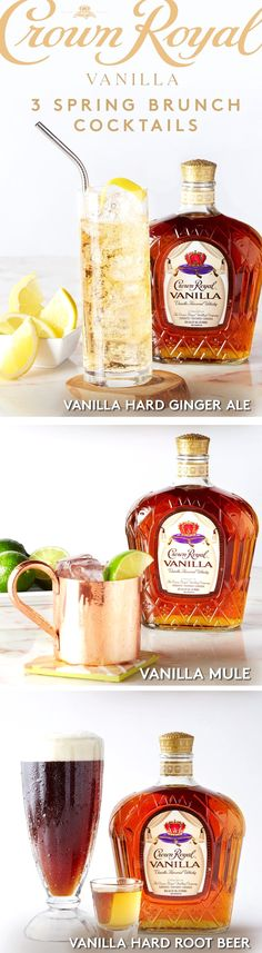 For a simple spring cocktail recipe, fix a Vanilla Hard Ginger Ale. Add 1.5 oz Crown Royal Vanilla to an ice-filled highball glass. Add 4 oz ginger ale and stir. For a mule, combine 1.5 oz of Crown Royal Vanilla, .75 oz lime juice and ice into a shaker - shake and strain. Top with ginger beer, 2 dashes of bitters and garnish with a lime. For an easy & classic cocktail, try the Vanilla Hard Root Beer. Add 1.5 oz Crown Royal Vanilla Whisky to an ice-filled glass, top with root beer and stir.