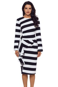 7d99e6e85a06 Black Striped Ruffle Side Back Slit Long Sleeve Midi Dress only US$29.67  ,free shipping