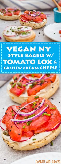 NY Style Bagels with Tomato Lox and Cashew Cream Cheese Who says vegans eat only smoothies and avocado toast for breakfast? Try these…Who says vegans eat only smoothies and avocado toast for breakfast? Vegan Sandwich Recipes, Vegan Breakfast Recipes, Vegan Sandwiches, Finger Sandwiches, Savory Breakfast, Breakfast Smoothies, Vegan Vegetarian, Vegetarian Recipes, Raw Vegan