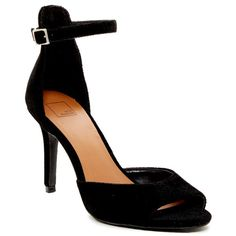 14th & Union Ardin Velvet Heeled Sandal (130 BRL) ❤ liked on Polyvore featuring shoes, sandals, black velvet faux suede, high heel shoes, peep toe sandals, ankle wrap sandals, heeled sandals and ankle strap heel sandals