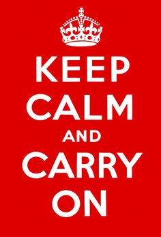 """Designed by the British Ministry of Information during WWII, the Keep Calm and Carry On poster was used to calm the nerves of the public and help boost morale, circa 1939. Ourposter is faithful to the original intypography, proportion and spacing, as opposed to other """"Keep Calm"""" posters that can be found oline, which are made with modern, computer-generated graphics."""