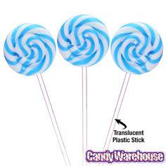 Swipple Pops Petite Swirly Ripple Lollipops - Blue Raspberry: 48-Piece Box