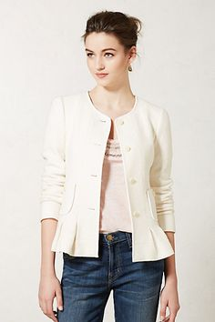 Saw this in person and we both didn't like it..but look for peplum going forward Francie Peplum Jacket #anthropologie
