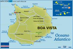 Map of Boa Vista (Island in Cape Verde) Holiday Places, Holiday Destinations, Cape Verde Map, Cap Verde, Cape Verde Holidays, Old Town Gdansk, Verde Island, Adventure Is Out There, Cabo