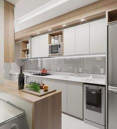Small and super functional kitchen (I. - Design Cointrend News Modern Kitchen Interiors, Home Decor Kitchen, Kitchen Modern, Diy Interior, Interior Design Kitchen, Beautiful Kitchens, Cool Kitchens, Kitchen Organisation, Functional Kitchen