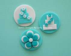 12 Edible Fondant Tiffany Blue Cupcake Toppers - Wedding Cake & Flower