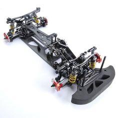 R/Blue 1/10 Alloy & Carbon Fiber G4 RC 4WD HSP Drift Racing Car Frame Body Kit RC Control Car