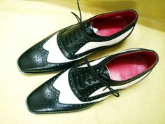 Handmade Brogue Oxford Leather Shoes white Black Wing Tip Formal Dress Shoes Men #Handmade #Oxfords #Formal
