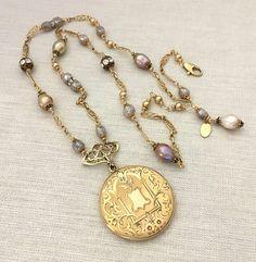Vintage Assemblage Antique Locket Necklace Anniversary Gift