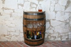 Liquor Cabinet In A Whiskey Barrel