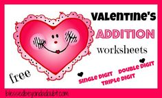 FREE Valentines Addition Worksheets!  Up to 4 digits!    #homeschool #education #freehs