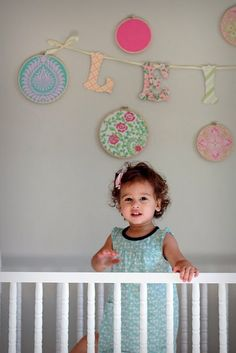 Easy DIY wall art using fabric scraps and embroidery hoops! #wall art #fabric #nursery