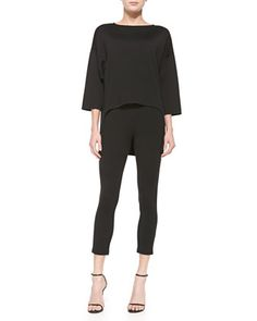 Milano Knit Bateau Neck 3/4 Sleeve Tunic with Maxi Tail & Stretch Milano Knit Slim Ankle Alexa Pants by St. John Collection at Neiman Marcus.~WANT THE TOP