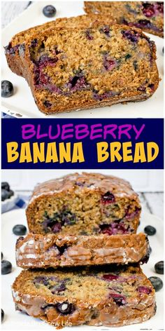 Blueberry Banana Bread - this easy banana bread is loaded with fresh blueberries and drizzled with a sweet glaze. Make this healthy recipe for breakfast or for an after school snack. #banana #blueberries #sweetbread #healthy #breakfast #bananabread #recipe