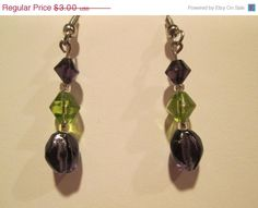 ON SALE Vintage Purple and Green Beaded Dangle Earrings